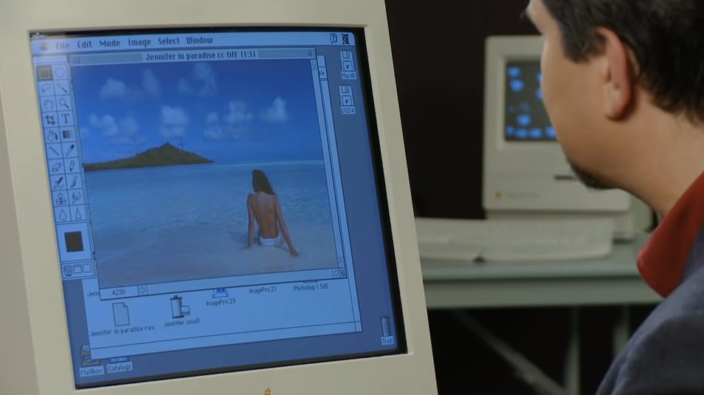 John Knoll Sits at Apple Mac Looking at First Ever Photoshop Image, Jennifer in Paradise