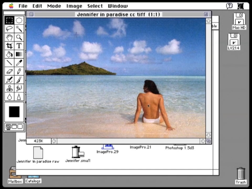 Early Photoshop Screen Grab of Jennifer in Paradise. First Ever Photoshop Image Used.