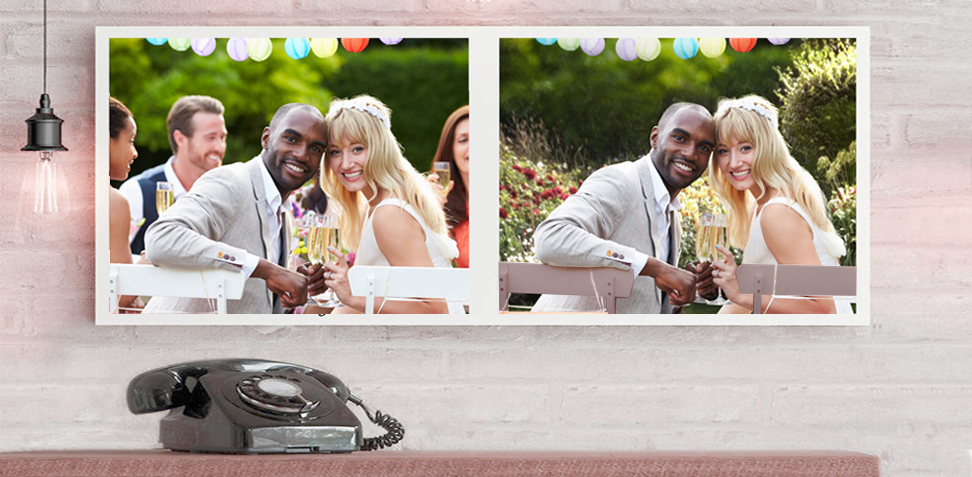 Digitally enhanced wedding photo retouching services, specialising in background/object removal