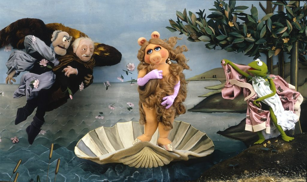 Digitally image edited translation of 'The Birth of Venus' parody, featuring Miss Piggy