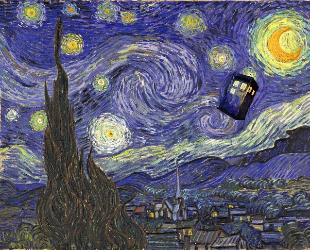 Digitally image edited parody of Van Gogh's 'Starry Night'; inspired by episode of Dr Who
