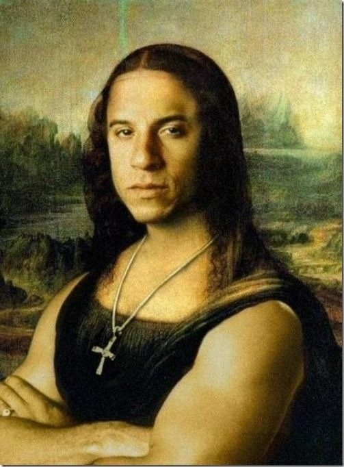 Digitally image edited interpreted vision of The Mona Lisa, feauturing Hollywood actor, Vin Diesel