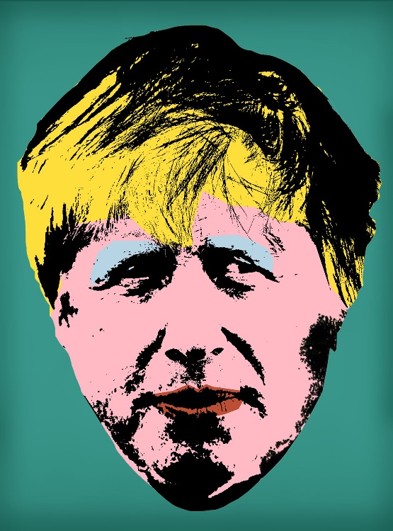 Digitally image edited parody of Andy Warhol's 'Marilyn' art work; influenced by Boris Johnson