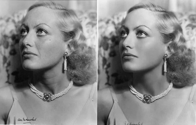 Famous photo retouched image of Hollywood star, Joan Crawford.