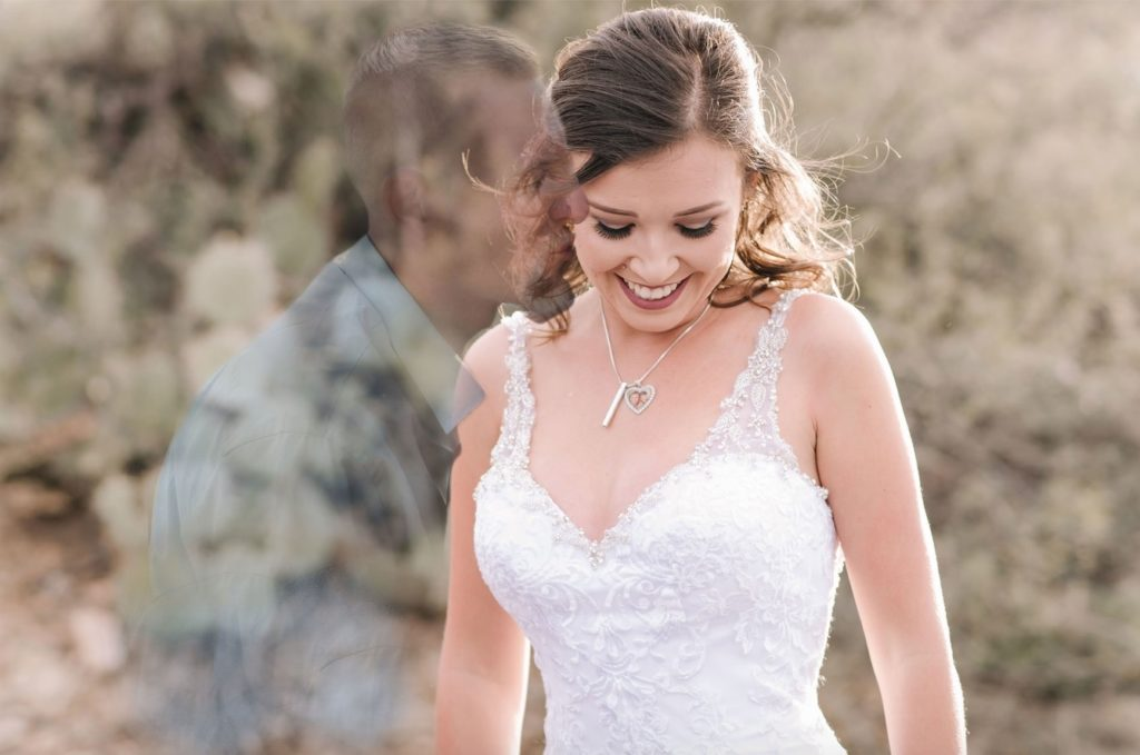 Wedding photo retoucher imagines late fiance in bride's wedding photos
