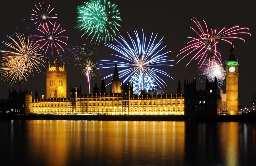 Westminster lit up by digital enhanced fireworks photography.