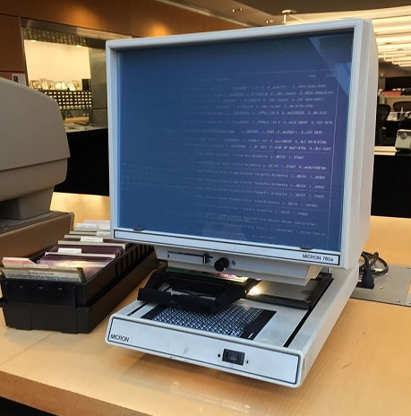 Microfiching for information, before the superhighway was even constructed.