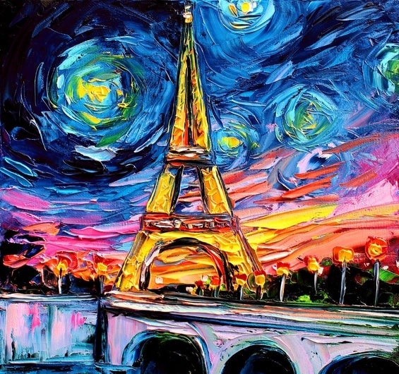 A legal depiction of the Eiffel Tower after darkness. A Van Gogh-styled contemporary art study.