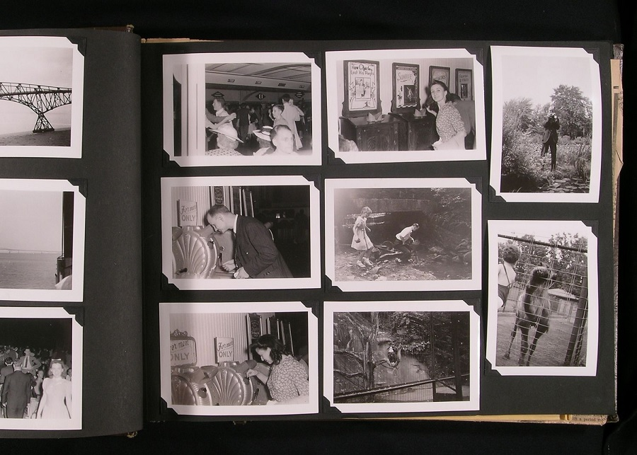 Old black and white photo album