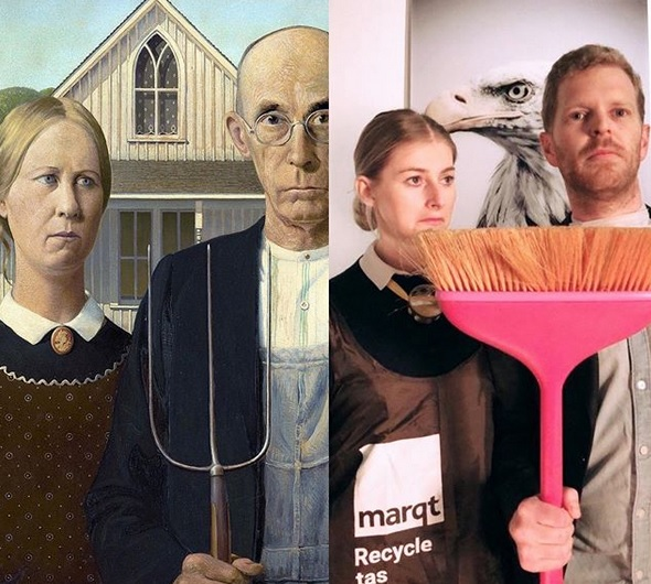 Couple get in on lockdown famous art work re-creation challenge, as instigated by Getty Museum.