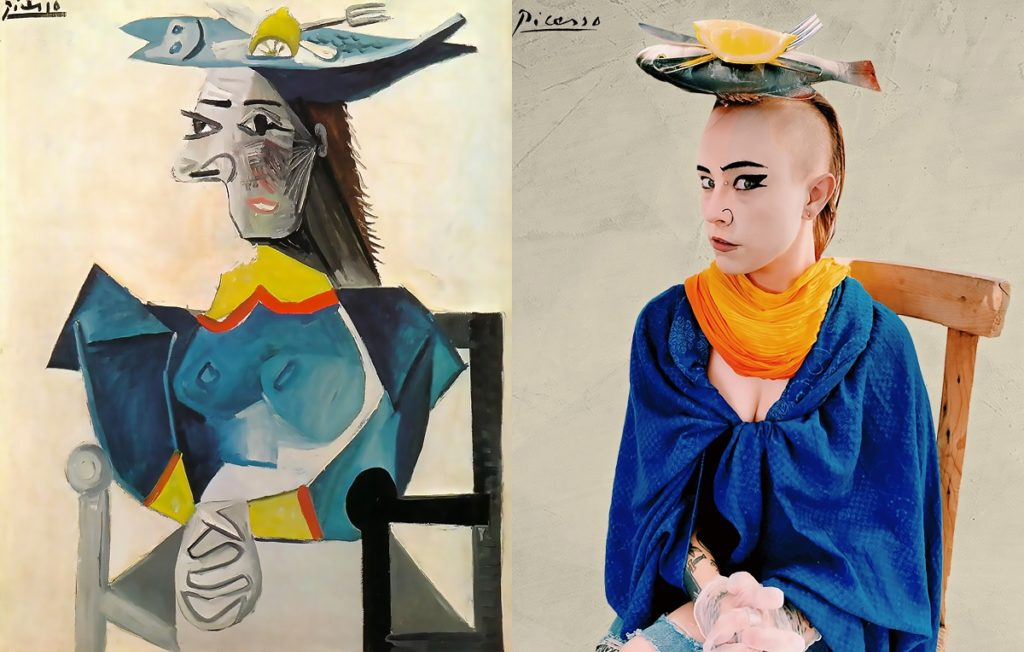 Picasso-inspired artistic woman to wear fish on her head in real life lockdown famous artwork challenge.