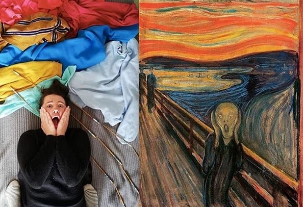 The Scream; as interpreted by a contemporary art fan recreating said composition during lockdown.