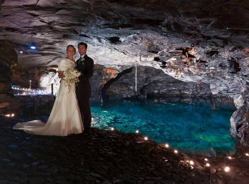 Underground cavern provides incredible wedding backdrop to figure in wedding photo correction services' Top 10 Unique UK Wedding Venues.