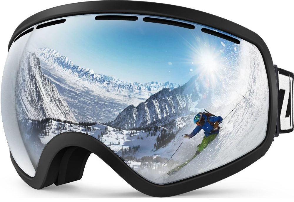 Skier reflecting in ski goggles, visually demonstrates how we superimpose products on white backgrounds for Amazon ads and other purposes.