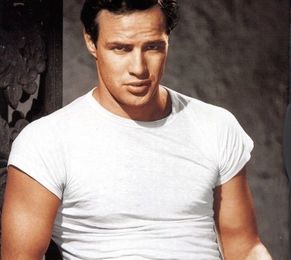 Marlon Brando wearing timeless classic, plain white t-shirt.