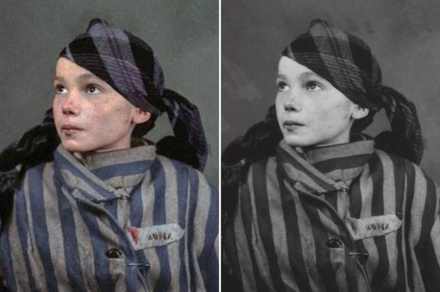Photographic comparison of Czesława Kwoka, before and after colour introduced to original image.